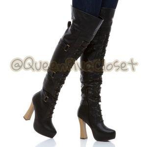 Black Thigh high over knee Naisha block heel boots